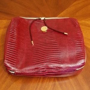 Travel makeup case  packing cube red faux leather